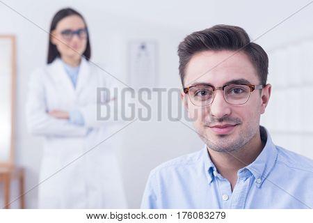 Man Wearing New Eyeglasses
