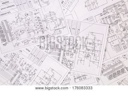 Background of the printed engineering electrical drawings