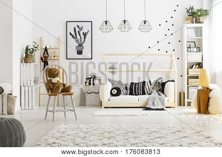 White Child Bedroom With Carpet