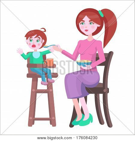 Young redhead mother with bowl full of porridge, feeds crying baby boy, who sits on highchair on white background. Illustration of motherhood. Cartoon family moment vector for Mother day.