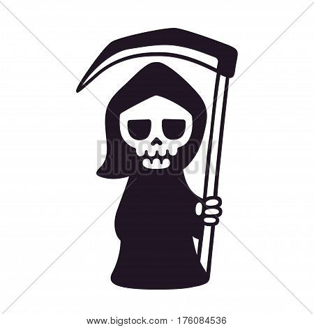 Cute death with scythe isolated black and white drawing. Cartoon Grim Reaper vector illustration.