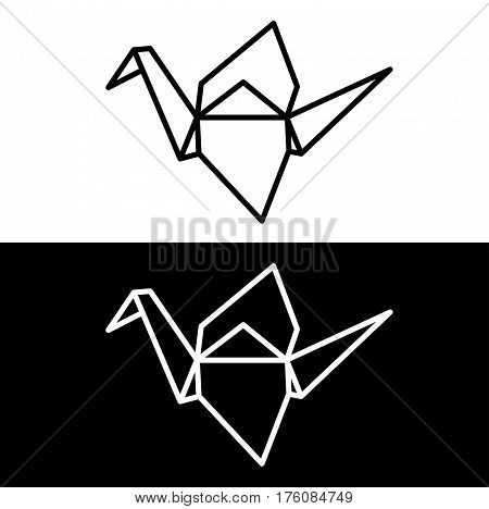 Origami paper crane symbol on white and black background. Simple minimal vector line icon.