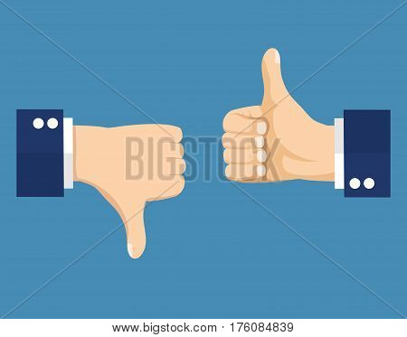 Thumbs up and down, like dislike icons for social network. vector illustration in flat style