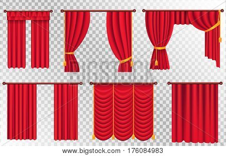 Red curtains set of different kinds and shapes on transparent background. Luxury scarlet silk curtains and draperies. Theatre decorations isolated vector illustration in realistic style