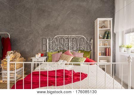 Modern Bedroom With Cyan Wall