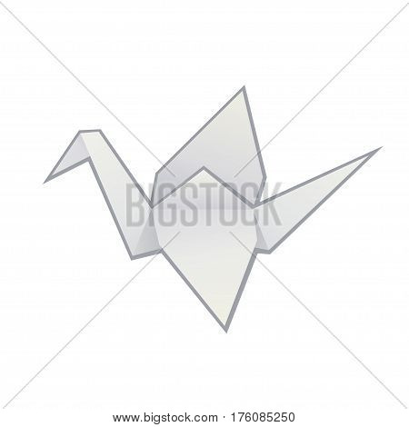 Origami paper crane isolated in white. Simple minimal vector illustration.