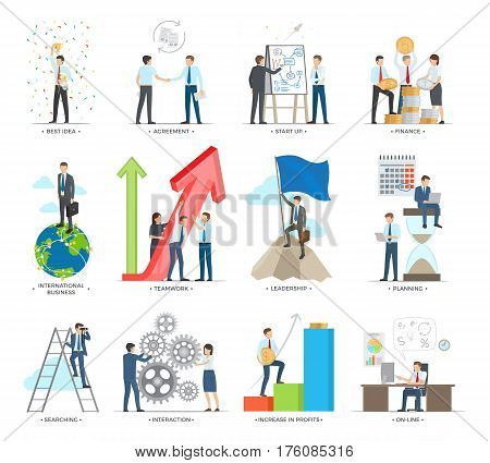 Successful business making concept vector poster. People working together and along, creating good ideas, making agreements, planning deals and searching new opportunities, increasing profits