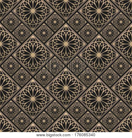 Seamless pattern oriental ornament. Black and golden textile print. Islamic vector design. Floral tiles.
