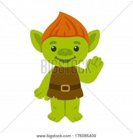 Cute cartoon troll or goblin smiling and waving. Childrens fairy tale character vector illustration.