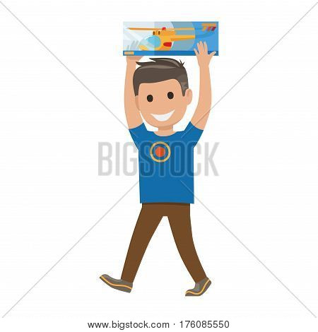Boy goes and carries box over his had on white background. Family shopping day. Cartoon smiling boy has fun during shopping. Isolated vector illustration collection of family member characters.