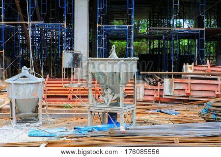 concrete bucket mixer container cement construction in building site workplace