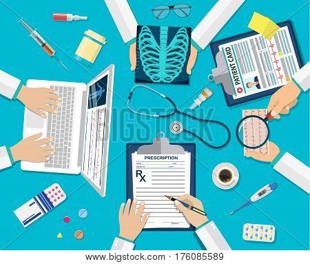 Medical team doctors at desktop. Diagnostic medical equipment. Medical healthcare concept. Teamwork of doctors. vector illustration in flat style