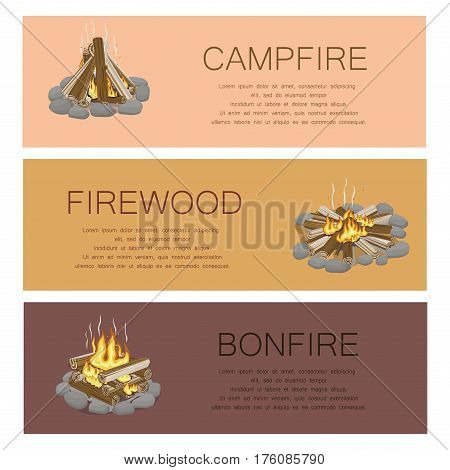 Campfire firewood and bonfire colorful poster. Vector collection of touristic fire with flame kinds pictures with frame of grey stones, burning flame and wooden logs. Burning bonfire template