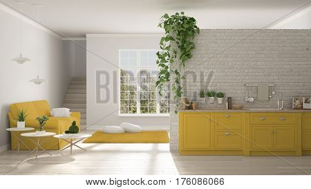 Scandinavian White And Yellow Minimalist Living With Kitchen, Open Space, One Room Apartment, Classi