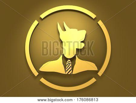 Pet emblem design. Doberman dog. Graphic design element. 3D rendering