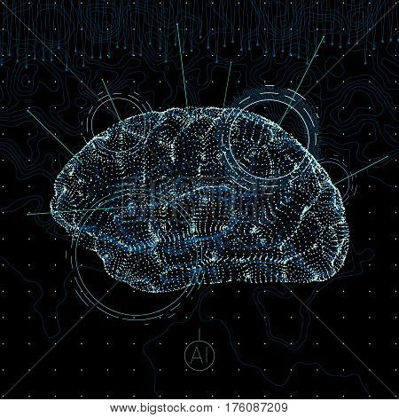 conceptual business illustration with scatter array of tiny glowing particles forming human brain, artificial intelligence idea