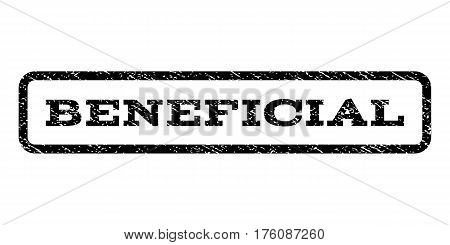 Beneficial watermark stamp. Text caption inside rounded rectangle frame with grunge design style. Rubber seal stamp with dirty texture. Vector black ink imprint on a white background.