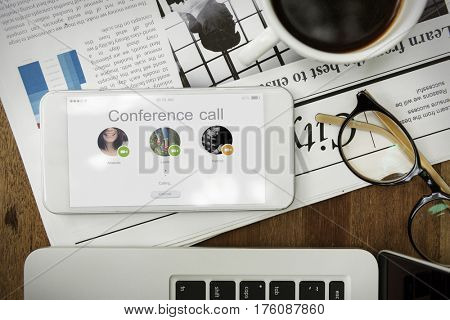 Conference Calling Online Communication Icon Graphic