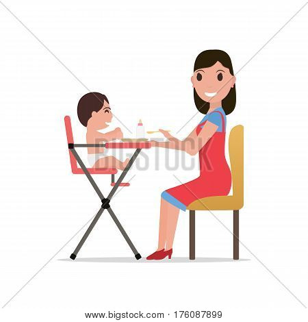 Vector illustration cartoon mother feeding her baby. Isolated white background. Flat design. A woman feeds a child in a high chair.