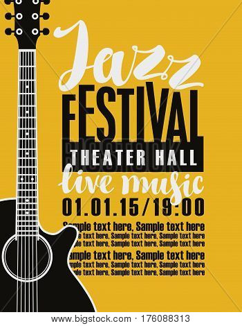 Template Poster for jazz festival live music with a guitar