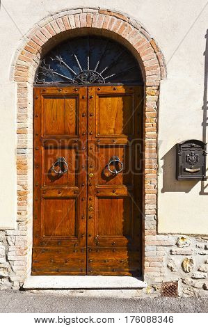 Wooden Italian Door with Post Box in Historic Center