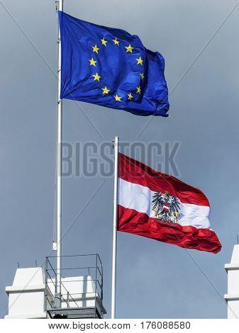 eu flag and austria flag