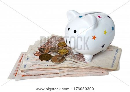 Piggy bank and Croatian money isolated on white background