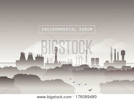 Environmental vector illustration. Trees and factory with smoke in fog. Protection of environment, urban landscape, ecology, air pollution, exhaust fumes, autumn morning. Black and white.
