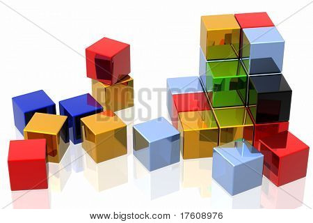 colorful cubes isolated over white background