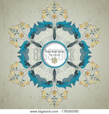 Round Vector  Floral Pattern On  Vintage Plaster Background