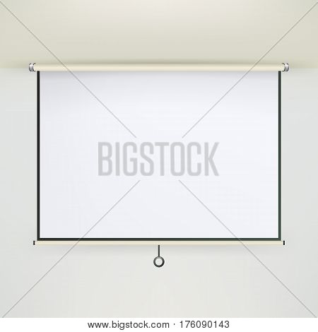 Meeting Projector Screen Vector. Empty White Board Presentation Conference On The Wall. creen White Boad Presentation