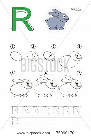 Vector illustrated alphabet with kid educational games to learn handwriting with easy game level for preschool children, kid drawing tutorial for letter R. Rabbit.