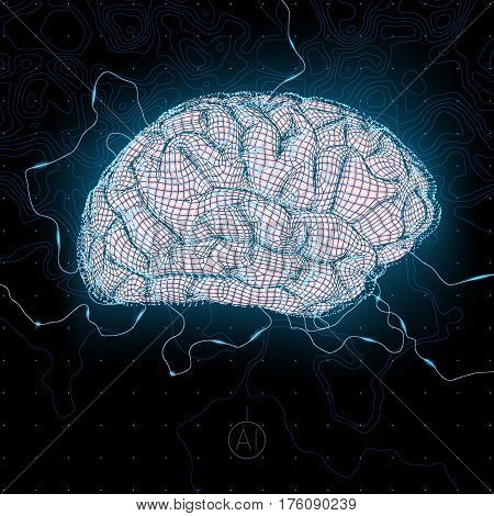 conceptual business illustration with scatter array of tiny glowing particles forming a cloud around stylized human brain, artificial intelligence idea