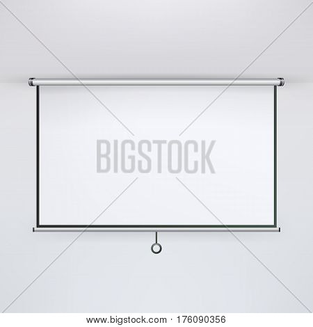 Meeting Projector Screen Vector. Hanging Projection Screen Isolated On White. Empty Presentation Board, Blank Whiteboard