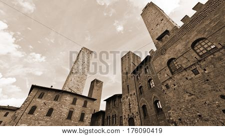 Towers in the Medieval City of Gimignano in Italy Vintage Style Sepia