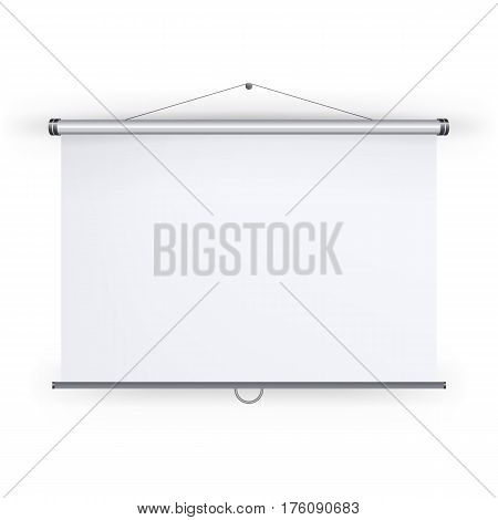 Meeting Projector Screen Vector. Blank White Board To Showcase Your Projects, Presentation Display