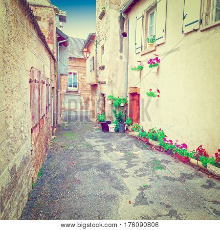 Deserted Street of the French City Instagram Effect