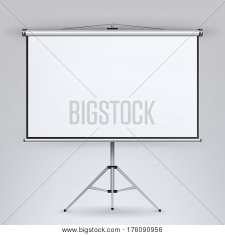 Meeting Projector Screen Vector. White Board Presentation Conference With Tripod. Empty White Board On Tripod For Conference And Meeting