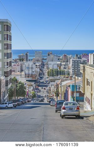 COMODORO, RIVADAVIA, ARGENTINA MARCH - 2016 - Urban view of Comodoro Rivadavia city the most important city of argentinian patagonian