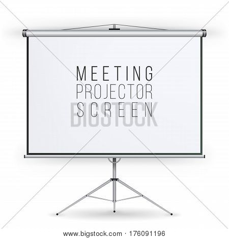 Meeting Projector Screen Vector. Presentation Bblank Whiteboard. Realistic Standing Tripod Projector For Seminar