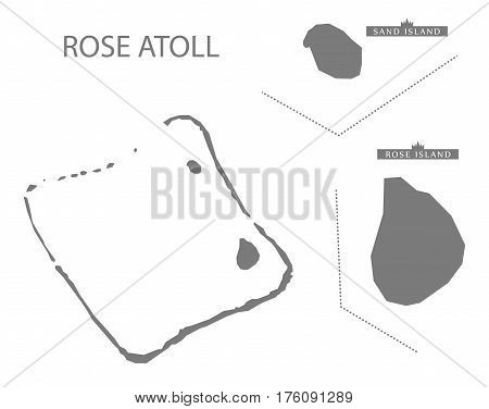 Rose Atoll American Samoa Map Grey Illustration Silhouette