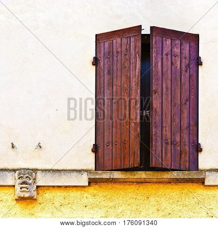 The French Window with Closed Wooden Shutter