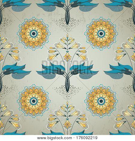 Seamless vector background. Floral pattern in modern style. Hosta plant on vintage plaster background.