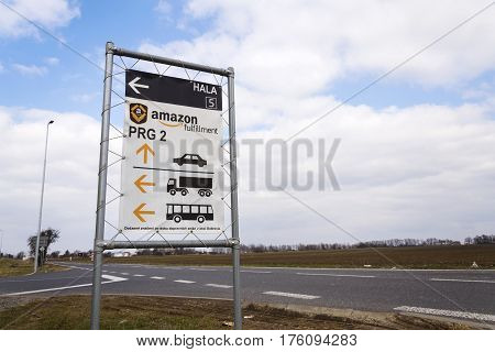 Dobroviz, Czech Republic - March 12: Road Sign To Online Retailer Company Amazon Fulfillment Logisti