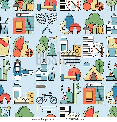 Healthy lifestyle habits colorful line vector icon seamless pattern. Proper nutrition fruit vegetables water seafood. Physical activity sport outdoor exercise fitness. Rest and hobby sleep reading spa
