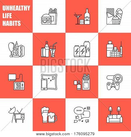 Unealthy lifestyle habits black and white line vector icons isolated. Fast junk food cola hanburger pizza. Bag habit smoking drugs energetic. Waste of time video games tv beer social media