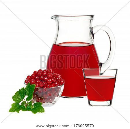 red currant drink in a glass and a decanter with berries currants on a white background