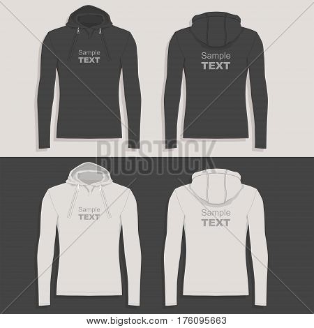 Men's hoodie (front view, back and side views)