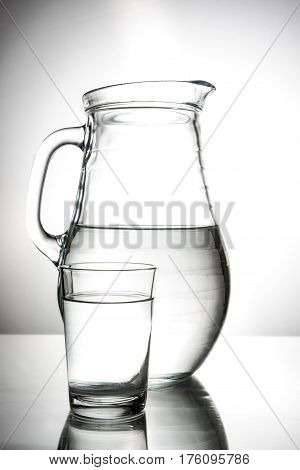 Water pitcher and glass high quality and high resolution studio shoot
