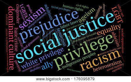Social Justice word cloud on a black background.